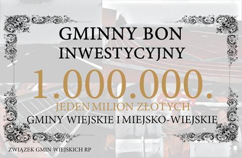 Gminy wiejskie proponują bon inwestycyjny - milion złotych dla najsłabszych samorządów